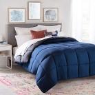 Linenspa All-Season Reversible Down Alternative Quilted Comforter – Navy/Graphite – Full