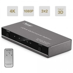 MAD GIGA HDMI Switch, 3×2 HDMI Switch/Splitter with Remote