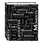 Magnetic Self-Stick 3-Ring Photo Album 100 Pages, Black & White Words Design