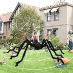 MAIAGO Halloween Decorations, 200″ Halloween Spider Web + 78.7″ Giant Scary Fake Spider