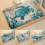 Marine Life Pattern Absorbent Non-Slip Carpet Mat Area Rugs (16x24in)