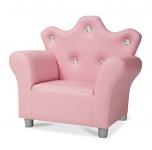 Melissa & Doug Child's Crown Armchair – Pink Faux Leather Children's Furniture