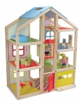 Melissa & Doug Hi-Rise Wooden Dollhouse With 15 pcs Furniture – Garage and Working Elevator