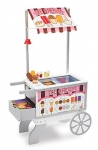 Melissa & Doug Wooden Snacks and Sweets Food Cart – 40+ Play Food pcs, Reversible Awning