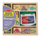 Melissa & Doug Wooden Stamp Set: Dinosaurs – 8 Stamps, 5 Colored Pencils, 2-Color Stamp Pad
