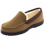 Hometop Men's Wool Micro Suede Moccasin Slippers