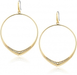 Michael Kors Womens Tone and Pave Drop Hoop Earrings