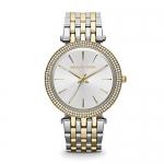 Michael Kors Mid-Size Goldtone/Silvertone Stainless Steel Darci Three-Hand Glitz Watch