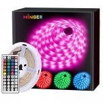MINGER LED Strip Lights, 16.4ft LED Light Strip with Remote and Control Box
