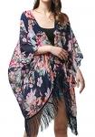MissShorthair Women's Light Floral Print Chiffon Kimono