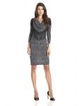 MSK Women's Cowl Neck Long-Sleeve Short Dress with Fringe