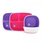 Munchkin Splash Toddler Divided Plate and Bowl Dining Set, Pink/Purple, 4 Piece