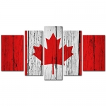 My Easy Art 5 Pieces Canadian Flag on Aged Wooden Wall Modern Print On Canvas Wall Artwork for Wall Décor