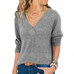 Naivikid Women's Knit Tunic Long Sleeve V-Neck Loose Casual Pullover Tee