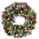 National Tree 24 Inch Crestwood Spruce Wreath with 50 Clear Lights