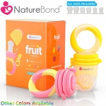 NatureBond Baby Food Feeder / Fruit Feeder Pacifier (2 PCs) – Infant Teething Toy Nibbler Teether and Silicone Food Pouches in Appetite Stimulating Colors