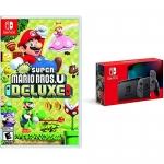 New Super Mario Bros Deluxe U + Nintendo Switch Gray Bundle