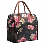 Insulated Lunch Box Wide-Open  Tote Bag, Black/Peony