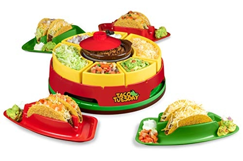 Nostalgia Taco Tuesday Heated Lazy Susan Topping Bar with Taco Holders