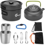 Odoland 10pcs Camping Cookware Mess Kit