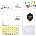 Ohuhu Happy Birthday Gift Cards, 48 Assorted Folded Kids Birthday Greeting Blank Note Cards W/ 48 White Envelopes and 48 Stickers, 4 x 6 inch