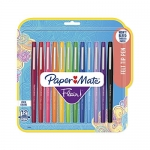Paper Mate Flair Point Guard Marker Porous, Nylon Tip Pen Medium, 12-Carded, Assorted Inks