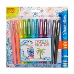 Paper Mate Flair Porous-Point Felt Tip Pen, Medium Tip, 12-Pack, Limited Edition Tropical Vacation Colors