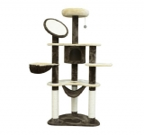 PawHut 60-inch Cat Tree Scratching Tower Condo with Hammock Post