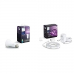 Philips Hue White Ambiance & Colour A19 Single with Bluetooth + Lightstrip Plus V4 2m Base kit, Colour