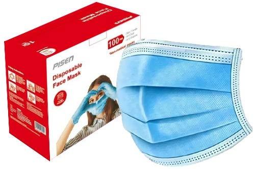 PISEN 100pcs Disposable Face Masks Non-Medical, Blue