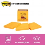 Post-it Notes Super Sticky Notes, 3″ x 3″, 5 Pads, 90 Sheets/Pad, Neon Orange