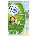 Puffs Plus Lotion Facial Tissue, 4 Family Boxes, 124 Facial Tissues per Box