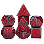 Red D&D Game Dice,7 die Polyhedral Metal Dice with Gift Velvet Pouch