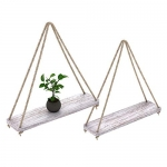 Rustic Set of 2 Wooden Floating Shelves with String