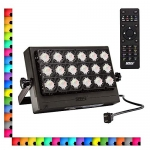 SANSI 100W RGB LED Flood Light with Plug, 16 Colors 4 Modes