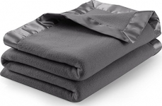 Sateen Polar Fleece Blanket (Queen, Grey) – Extra Soft Brush Fabric