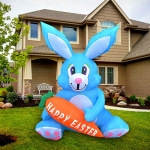 SEASONBLOW 4 FT LED Light Up Inflatable Easter Bunny with Carrot