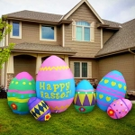 SEASONBLOW 8 Ft Easter Egg Inflatable Eggs Decoration for Indoor Outdoor