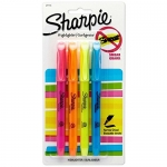 Sharpie Pocket Style Highlighters, Chisel Tip, Assorted Colors, 4 Count