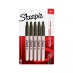 Sharpie FINE POINT Marker Permanent, 5-Carded, Black Ink