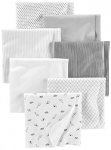 Simple Joys by Carter's Baby 7-Pack Flannel Receiving Blankets, Grey/White/Black