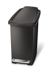 simplehuman 10L Compact Slim Step Trash Can, Black Plastic