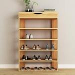 sogesfurniture 5 Tier Free Standing Wooden Shoe Storage Shelf,Teak