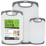 S&T Cutting Boards W/Rubberized Grips & Juice Grooves, 3 Pack