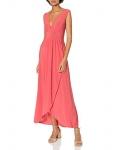 Star Vixen Women's Sleeveless Surplice Tulip Skirt Empire Band Maxi Dress, Coral