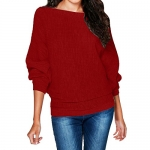 Women's O-Neck Batwing Sleeve Loose Knitted Pullover Sweater