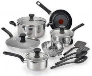 T-Fal Simply Cook 14-Piece Stainless Steel Cookware Set – Silver