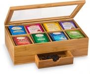 Tea Organizer Bamboo Tea Box with Small Drawer 100% Natural Bamboo