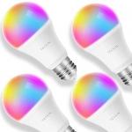 TECKIN Smart LED Bulb WiFi E27 Dimmable Multicolor Light Bulb (4 PACK)