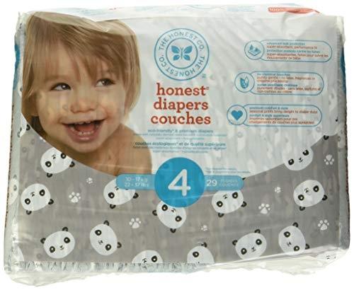 The Honest Company Disposable diapers, Pandas Print, Size 4, 29 Count